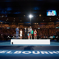 The trophy presentation after winning the women's singles championship match during the 2018 Australian Open on day 13 in Melbourne, Australia on Saturday night January 27, 2018.<br /> (Ben Solomon/Tennis Australia)