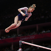 Victoria Komova, Russia, in action during the Gymnastics Artistic, Women's Apparatus, Uneven Bars Final at the London 2012 Olympic games. London, UK. 6th August 2012. Photo Tim Clayton