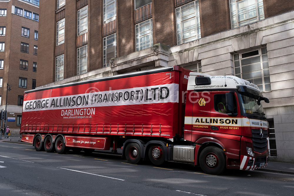 Large haulage lorry HGV from Darlington in the north of the UK on 30th March 2021 in Birmingham, United Kingdom. George Allison Transport Ltd.