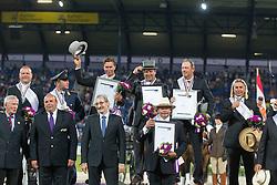 Team Netherlands, Chardon IJsbrand, De Ronde Koos, Timmerman Theo<br /> Driving competition Prizegiving<br /> European Championships - Aachen 2015<br /> © Hippo Foto - Dirk Caremans<br /> 22/08/15