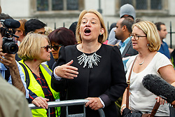 © Licensed to London News Pictures. 12/09/2015. London, UK. Green Party leader Natalie Bennett attending a pro-refugee march in central London following his victory on September 12, 2015. Photo credit: Tolga Akmen/LNP