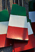 Plovdiv BULGARIA. Oars/Blades with National colours and design. ITA. Italy  2011 FISA European Rowing Championships, Plovdiv Rowing Centre   Saturday  17/09/2011  [Mandatory Credit; Peter Spurrier: Intersport Images]  Original Camera File No.  2011011881.jpg Equipment.