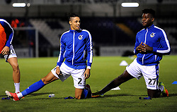 Daniel Leadbitter of Bristol Rovers and Rollin Menayese of Bristol Rovers warm up- Mandatory by-line: Nizaam Jones/JMP - 09/10/2018 - FOOTBALL - Memorial Stadium - <br /> Bristol, England - Bristol Rovers v Yeovil Town - Checkatrade Trophy