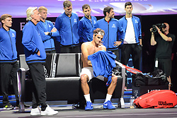 September 22, 2018 - Chicago, Illinois, United States - ROGER FEDERER of Switzerland during his match v. N. Kyrgios in the 2018 Laver Cup tennis event in Chicago. (Credit Image: © Christopher Levy/ZUMA Wire)