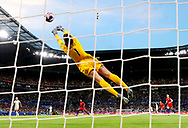 LYON, FRANCE - JULY 02: Alyssa Naeher of the USA makes a save during the 2019 FIFA Women's World Cup France Semi Final match between England and USA at Stade de Lyon on July 02, 2019 in Lyon, France. (Photo by Elsa/Getty Images)