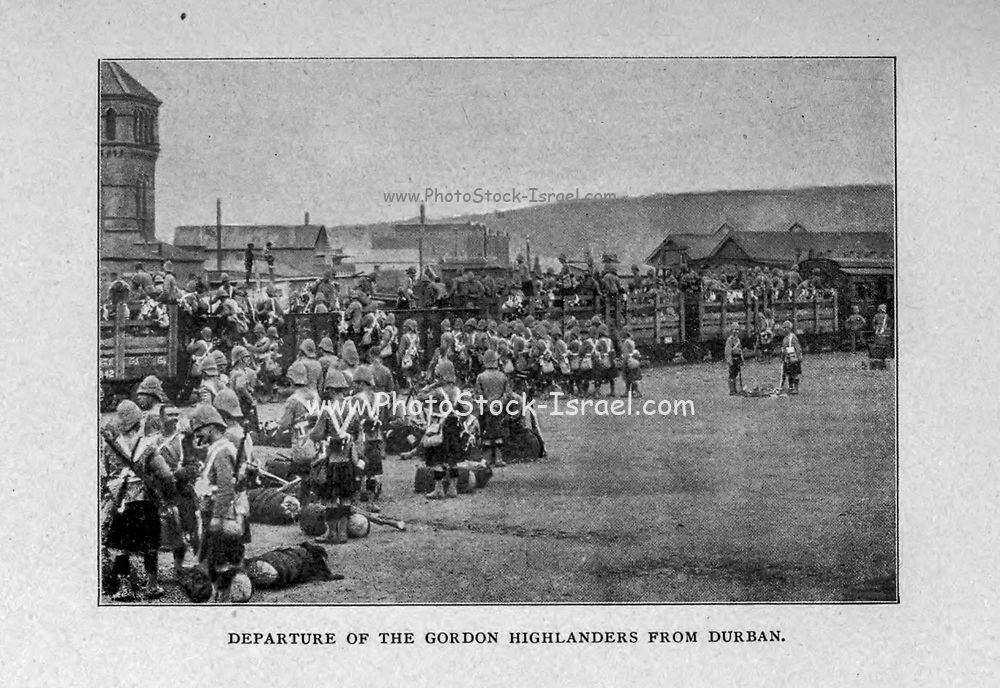 Departure of the Gordon Highlanders from Durban from the book ' Boer and Britisher in South Africa; a history of the Boer-British war and the wars for United South Africa, together with biographies of the great men who made the history of South Africa ' By Neville, John Ormond Published by Thompson & Thomas, Chicago, USA in 1900