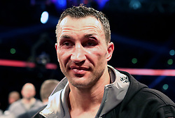 Wladimir Klitschko's left eye is heavily cut following defeat to Anthony Joshua in the IBF, WBA and IBO Heavyweight World Title bout at Wembley Stadium, London.