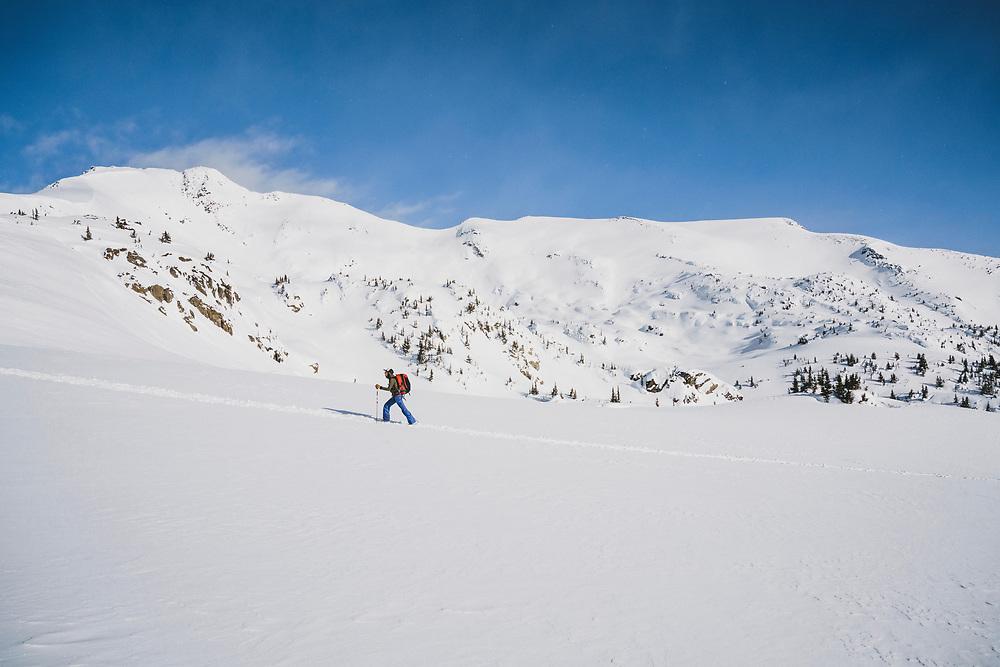 Ali Vagnini heads into the alpine above the Meadow Hut, Esplanade Range, BC.