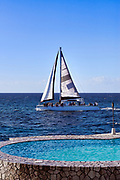 Tourist sightseeing catamaran excursion, Negril, Jamaica