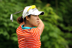 May 26, 2018 - Ann Arbor, Michigan, United States - Haeji Kang of Korea follows her shot from the 7th tee during the third round of the LPGA Volvik Championship at Travis Pointe Country Club, Ann Arbor, MI, USA Saturday, May 26, 2018. (Credit Image: © Amy Lemus/NurPhoto via ZUMA Press)