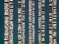 Aerial close up view of boats in Smith Cove, Elliot Bay in Seattle, USA.