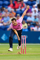 Toby Roland-Jones of Middlesex in action<br /> <br /> Photographer Craig Thomas/Replay Images<br /> <br /> Vitality Blast T20 - Round 4 - Glamorgan v Middlesex - Friday 26th July 2019 - Sophia Gardens - Cardiff<br /> <br /> World Copyright © Replay Images . All rights reserved. info@replayimages.co.uk - http://replayimages.co.uk