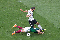 June 17, 2018 - Moscow, Russia - Javier Hernandez of Mexico vies Mats Hummels of Germany during the Russia 2018 World Cup Group F football match between Germany and Mexico at the Luzhniki Stadium in Moscow on June 17, 2018. (Credit Image: © Foto Olimpik/NurPhoto via ZUMA Press)