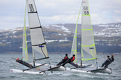 Image Credit Marc Turner..GBR 106,  Oliver KING, James KING, Brightlingsea Sailing Club,.GBR 159, Victoria AKHURST, James DODD, Netley Sailing Club,.Spitfire.Day 4, RYA Youth National Championships 2013 held at Largs Sailing Club, Scotland from the 31st March - 5th April. .