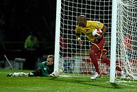 Photo: Richard Lane.<br />Watford v Fulham. The Barclays Premiership. 02/10/2006. <br />Watford's Marlon King picks the ball out of the net as Watford make it 3-3.