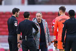 Swansea City manager Steve Cooper fist bumps Referee Tony Harrington after the final whistle - Mandatory by-line: Nick Browning/JMP - 29/11/2020 - FOOTBALL - The City Ground - Nottingham, England - Nottingham Forest v Swansea City - Sky Bet Championship