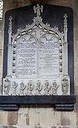 Interior of the priory church at Edington, Wiltshire, England, UK - detail of Tayler family memorial