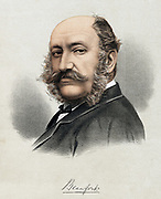 Henry Somerset, 8th Duke of Beaufort (1824-1899) Famous sportsman; editor of  Badminton Library series of books on sporting subjects; family seat, Badminton House, Gloucestershire (Avon), England. Tinted lithograph, London c1880