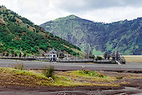 Java, East Java, Mount Bromo. On the Segara Wedi sand plain sits a Hindu temple called Pura Luhur Poten.