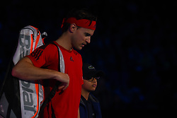 November 17, 2017 - London, England, United Kingdom - Dominic Thiem of Austria walks out for his Singles match against David Goffin of Belgium during day six of the Nitto ATP World Tour Finals at O2 Arena on November 17, 2017 in London, England. (Credit Image: © Alberto Pezzali/NurPhoto via ZUMA Press)