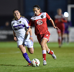 Oxford United's Amy Chivers competes with Bristol Academy's Evdokia Popadinova - Mandatory by-line: Paul Knight/JMP - Mobile: 07966 386802 - 27/08/2015 -  FOOTBALL - Stoke Gifford Stadium - Bristol, England -  Bristol Academy Women v Oxford United Women - FA WSL Continental Tyres Cup