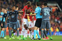 11th May 2017 - UEFA Europa League - Semi Final (2nd Leg) - Manchester United v Celta Vigo - Paul Pogba of Man Utd gestures to the referee following a clash with Facundo Roncaglia of Celta Vigo (R) - Photo: Simon Stacpoole / Offside.