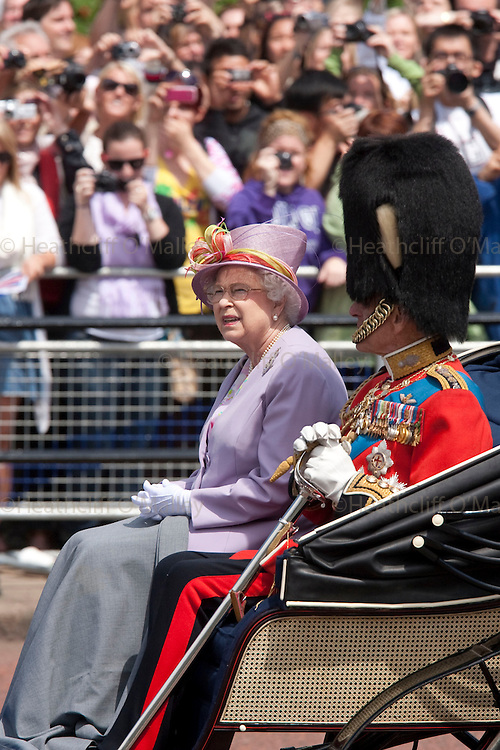 Mcc00233668 . Sunday Telegraph..The Queen and Prince Philip at the Trooping the Colour ceremony, part of the Queens official birthday celebrations....London 12 June 2010..............Not GETTY.Not PA.Not AP.Not REUTERS .Not AFP.