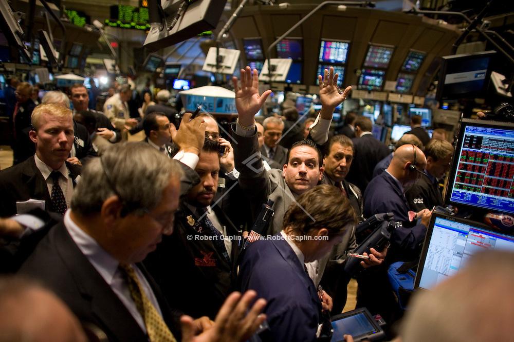 Brokers on the floor of the New York Stock Exchange. Sept 17, 2008. .