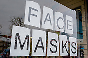 As the Coronovirus pandemic takes hold across the UK, with 53 cases now reported by health authorities, is a detail of lettering that spells out 'Face Masks' being sold by a medical equipment business in south London, on 4th March 2020, in London, England.