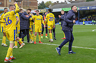 Players celebrating after win during the EFL Sky Bet League 1 match between Southend United and AFC Wimbledon at Roots Hall, Southend, England on 16 March 2019.