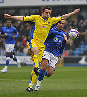 Photo: Tony Oudot/Richard Lane Photography. <br /> Millwall v Leeds United. Coca-Cola League One. 19/04/2008. <br /> Frazer Richardson of Leeds is watched on the ball by Ahmet Brkovic of Millwall
