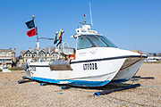 Cheetah Marine catamaran fishing boat on shingle beach, Aldeburgh, Suffolk, England, UK