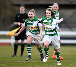 Ellie Curson of Yeovil Town Ladies celebrates as her team progress in the Women's FA Cup - Mandatory by-line: Paul Knight/JMP - Mobile: 07966 386802 - 28/02/2016 -  FOOTBALL - Stoke Gifford Stadium - Bristol, England -  Bristol City Women v Yeovil Town Ladies - FA Cup fourth round