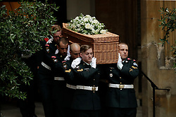 The coffin of Countess Mountbatten of Burma leaves St Paul's Church, Knightsbridge, London, during her funeral.