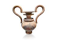 Elaborate Minoan amphora  of veined stone with double mouth and s shaped handles, Zakros Central Sanctuary  1500-1400 BC; Heraklion Archaeological  Museum, white background. .<br /> <br /> If you prefer to buy from our ALAMY PHOTO LIBRARY  Collection visit : https://www.alamy.com/portfolio/paul-williams-funkystock/minoan-art-artefacts.html . Type -   Heraklion   - into the LOWER SEARCH WITHIN GALLERY box. Refine search by adding background colour, place, museum etc<br /> <br /> Visit our MINOAN ART PHOTO COLLECTIONS for more photos to download  as wall art prints https://funkystock.photoshelter.com/gallery-collection/Ancient-Minoans-Art-Artefacts-Antiquities-Historic-Places-Pictures-Images-of/C0000ricT2SU_M9w
