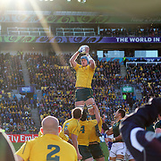 James Horwill, Australia, wins a line out during the South Africa V Australia Quarter Final match at the IRB Rugby World Cup tournament. Wellington Regional Stadium, Wellington, New Zealand, 9th October 2011. Photo Tim Clayton...