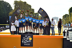 Tour de France 2018 winners pose on the podium after the 21st and last stage of the 105th edition of the Tour de France cycling race between Houilles and Paris Champs-Elysees, in Paris, France, on July 29, 2018. Photo by Eliot Blondet/ABACAPRESS.COM