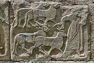 Pictures & Images Hittite relief sculpted orthostat panels of the Sphinx Gate. Panel depicts a man leading goats to be sacrificed. Alaca Hoyuk (Alacahoyuk) Hittite archaeological site  Alaca, Çorum Province, Turkey, Also known as Alacahüyük, Aladja-Hoyuk, Euyuk, or Evuk .<br /> <br /> If you prefer to buy from our ALAMY PHOTO LIBRARY  Collection visit : https://www.alamy.com/portfolio/paul-williams-funkystock/alaca-hoyuk-hittite-site.html<br /> <br /> Visit our TURKEY PHOTO COLLECTIONS for more photos to download or buy as wall art prints https://funkystock.photoshelter.com/gallery-collection/3f-Pictures-of-Turkey-Turkey-Photos-Images-Fotos/C0000U.hJWkZxAbg