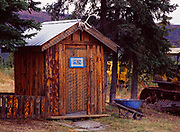 Men's outhouse, Top of the World Lodge, Talyor Highway, Boundary, Alaska.