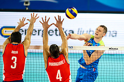 Toncek Stern of Slovenia vs Gabriel Araya of Chile and Tomas Parraguirre of Chile during volleyball match between Slovenia and Chile in Group A of FIVB Volleyball Challenger Cup Men, on July 3, 2019 in Arena Stozice, Ljubljana, Slovenia. Photo by Matic Klansek Velej / Sportida