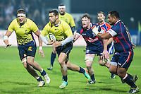 Adrian Apostol (C) of Romania during their rugby test match between Romania and USA, on National Stadium Arc de Triomphe in Bucharest, November 8, 2014.  Romania lose the match against USA, final score 17-27.