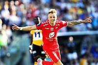 Fotball , 13. julii 2013 , Tippeligaen , Eliteserien , <br /> Start - Brann 3-3<br /> Kristoffer Knutsen Larsen , Brann jubel