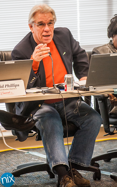 Concord City Council member Jim Ramseur asks a questions during the city's annual planning session at the Concord Police Headquarters Friday afternoon.