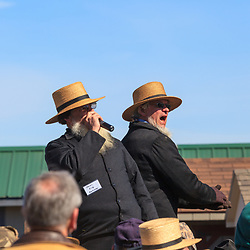 Gordonville, PA, USA - March 10, 2012: Amish auctioneers sell Farm equipmentat a public mud sale to benefit the Gordonville Volunteer Fire Company in Lancaster County, PA.