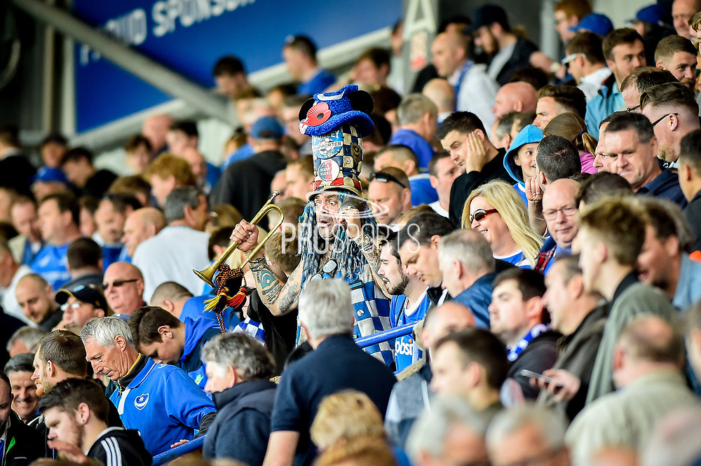 Famous Portsmouth fan celebrates promotion to League one during the EFL Sky Bet League 2 match between Portsmouth and Cambridge United at Fratton Park, Portsmouth, England on 22 April 2017. Photo by Adam Rivers.