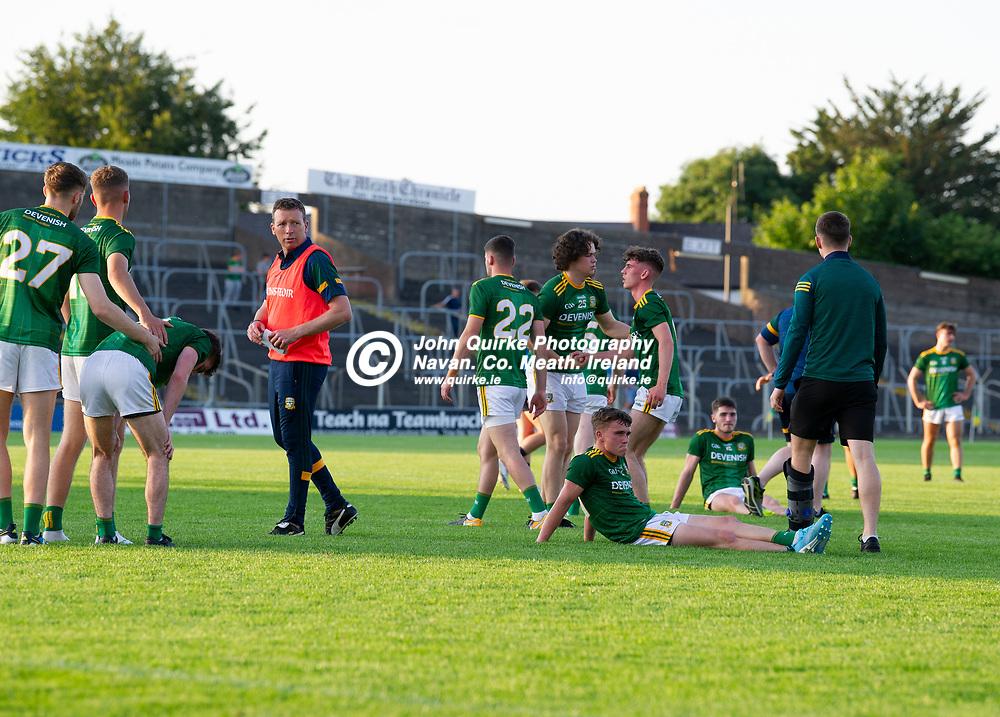 15-07-21. Meath v Dublin - Eirgrid Leinster U-20 Football Championship Semi-Final at Pairc Tailteann, Navan.<br /> Disappointed Meath players.<br /> Photo: John Quirke / www.quirke.ie<br /> ©John Quirke Photography, 16 Proudstown Road, Navan. Co. Meath. (info@quirke.ie / 046-9028461 / 087-2579454).