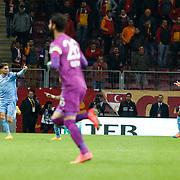 Trabzonspor's Carl Medjani (L) celebrate his goal during their Turkish superleague soccer derby match Galatasaray between Trabzonspor at the AliSamiYen spor kompleksi TT Arena in Istanbul Turkey on Saturday, 22 November 2014. Photo by Aykut AKICI/TURKPIX