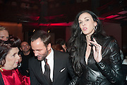 SUZY MENKES; TOM FORD; L'WREN SCOTT, - IMG HERALD TRIBUNE HERITAGE LUXURY PARTY.- Celebration of Heritage Luxury and 10 years of the International Herald Tribune Luxury Conferences. North Audley St. London. 9 November 2010. -DO NOT ARCHIVE-© Copyright Photograph by Dafydd Jones. 248 Clapham Rd. London SW9 0PZ. Tel 0207 820 0771. www.dafjones.com.