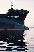 "Alaska. Prince William Sound. The ""Exxon Valdez"" oil tanker, sits aground on Bligh reef  after the tragic oil spill."