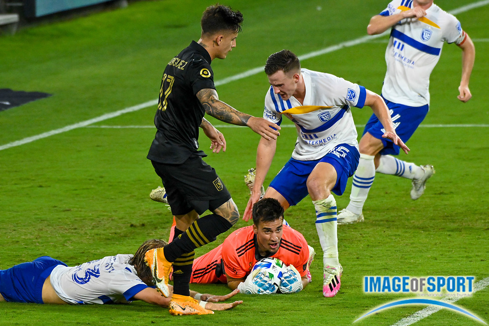 San Jose Earthquakes goalkeeper JT Marcinkowski (18) grabs the ball during a MLS soccer game, Sunday, Sept. 27, 2020, in Los Angeles. The San Jose Earthquakes defeated LAFC 2-1.(Dylan Stewart/Image of Sport)